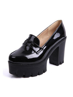 Black Patent Leather Round Toe Platform High Heel Chunky Heel 10CM Heels