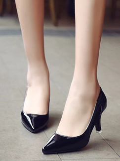 Black Patent Leather Pointed Toe Pumps Low Heel 7CM Heels