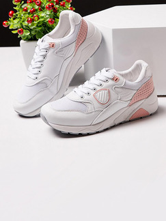 White and Pink Gauze Round Toe Lace Up Rubber Shoes