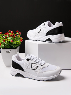 White and Black Gauze Round Toe Lace Up Rubber Shoes