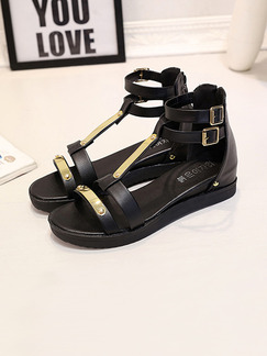 Black and Gold Leather Open Toe Gladiator Sandals