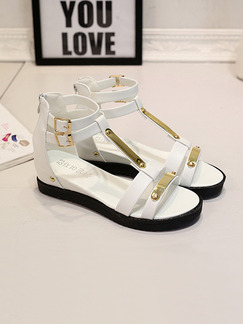 White and Gold Leather Open Toe Gladiator Sandals
