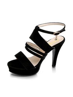 Black Suede Open Toe High Heel Stiletto Heel Ankle Strap 12CM Heels