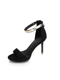 Black Suede Open Toe High Heel Stiletto Heel Ankle Strap 10CM Heels