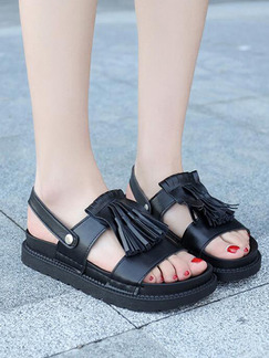 Black Leather Open Toe Sandals