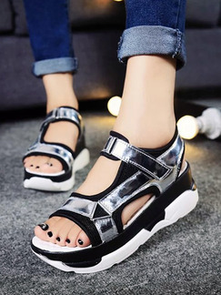 Black Silver and White Leather Open Toe Platform 5CM Sandals