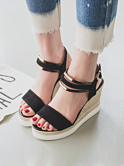 Black and Beige Suede Open Toe Platform Ankle Strap 10CM Wedges