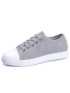 Grey and White Canvas Round Toe Lace Up Rubber Shoes