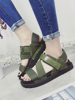 Green Leather Open Toe Sandals
