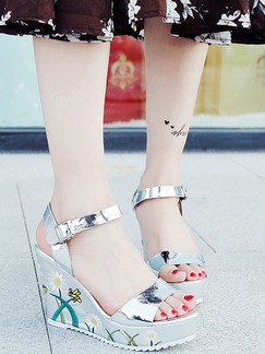 Silver Colorful Patent Leather Open Toe Platform Ankle Strap 10CM Wedges