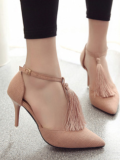 Brown Canvas Pointed Toe High Heel Stiletto Heel Ankle Strap 8CM Heels