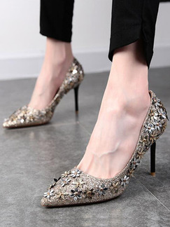 Silver Leather Pointed Toe Pumps High Heel Stiletto Heel 8CM Heels