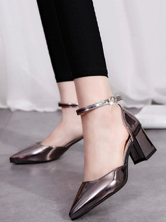 Bronze Patent Leather Pointed Toe High Heel Chunky Heel Ankle Strap 8CM Heels