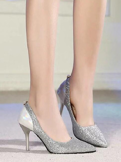 Silver Leather Pointed Toe Pumps High Heel Stiletto Heel 8.5CM Heels