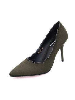 Green Suede Pointed Toe High Heel Stiletto Heel Pumps 9CM Heels
