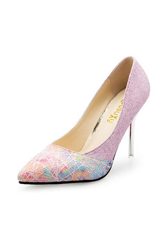 Pink Colorful Leather Pointed Toe High Heel Stiletto Heel Pumps 10CM Heels