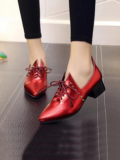 Red Leather Pointed Toe Lace Up High Heel Chunky Heel 4.5CM Heels