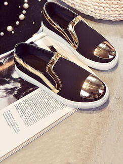Black White and Gold Nylon Round Toe Rubber Shoes