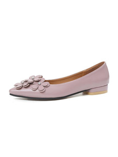 Pink Leather Pointed Toe Low Heel 2CM Heels