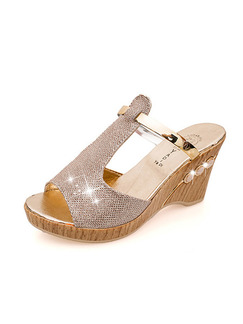 Silver and Beige Leather Peep Toe 8.5CM Wedges