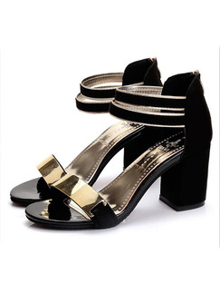 Black and Gold Suede Open Toe High Heel Chunky Heel 7.5CM Heels