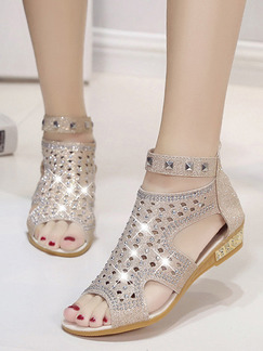 Gold Leather Peep Toe 3CM Sandals