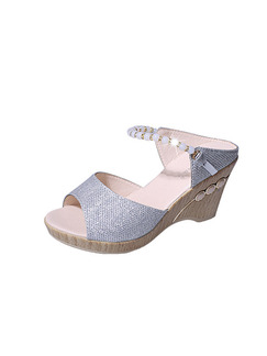 Silver Leather Peep Toe 8.5CM Wedges