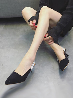 Black Canvas Pointed Toe Low Heel Stiletto Heel Ankle Strap 5CM Heels