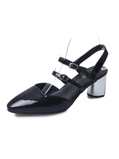 Black Patent Leather Round Toe High Heel Chunky Heel Ankle Strap 6CM Heels