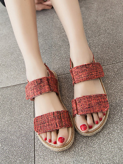 Red and Beige Nylon Open Toe Ankle Strap Sandals
