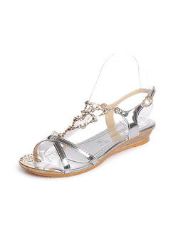 Silver Patent Leather Open Toe Ankle Strap Wedges