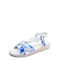 Blue and White Leather Open Toe Ankle Strap Wedges