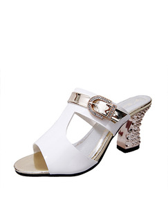 White and Gold Patent Leather Open Toe High Heel Chunky Heel 8CM Heels