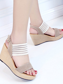Brown and Beige Suede Open Toe Platform Ankle Strap 9CM Wedges