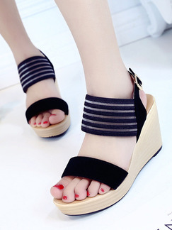 Black and Beige Suede Open Toe Platform Ankle Strap 9CM Wedges