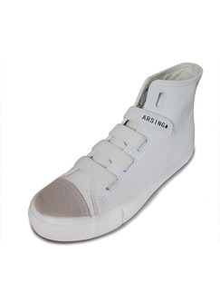 White Leather Round Toe Rubber Shoes Boots