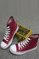 Red and White Canvas Round Toe Lace Up Rubber Shoes Boots