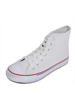 White Canvas Round Toe Lace Up Rubber Shoes Boots
