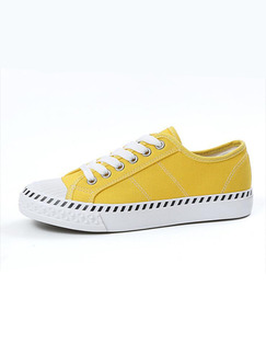 Yellow and White Canvas Round Toe Lace Up Rubber Shoes
