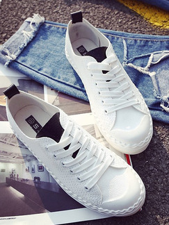 White and Black Leather Round Toe Lace Up Rubber Shoes