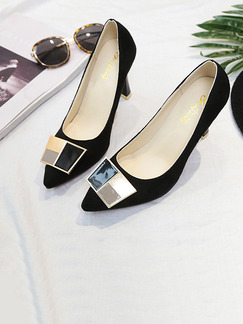 Black and Gold Suede Pointed Toe High Heel Stiletto Heel Pumps 8CM Heels