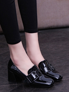 Black Patent Leather Round Toe High Heel Chunky Heel 6CM Heels
