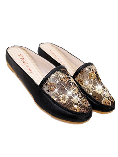 Black and Gold Gauze Round Toe Flats