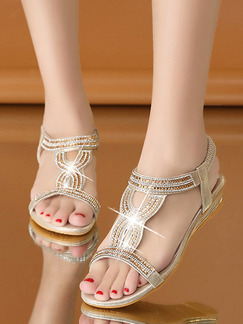Gold Leather Pointed Toe Platform Ankle Strap 4CM Wedges