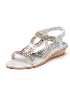 Silver and Gold Leather Open Toe Ankle Strap 4CM Wedges