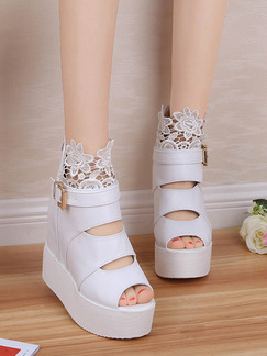 White Leather Peep Toe Platform 10.5CM Wedges Boots