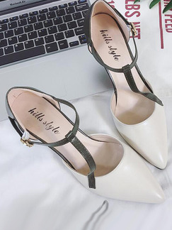 White and Green Leather Pointed Toe Low Heel Stiletto Heel 7.5CM Heels