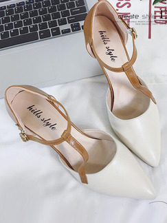 White and Beige Leather Pointed Toe Low Heel Stiletto Heel 7.5CM Heels