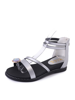 Silver and Black Leather Open Toe Ankle Strap Sandals
