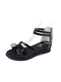 Black Patent Leather Open Toe Ankle Strap Sandals